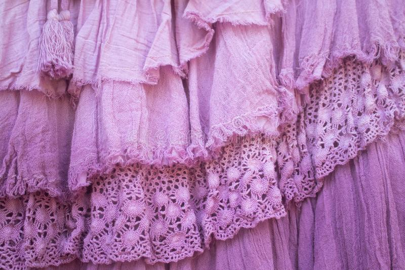 Pink layers of frilled gauze and lace background royalty free stock images