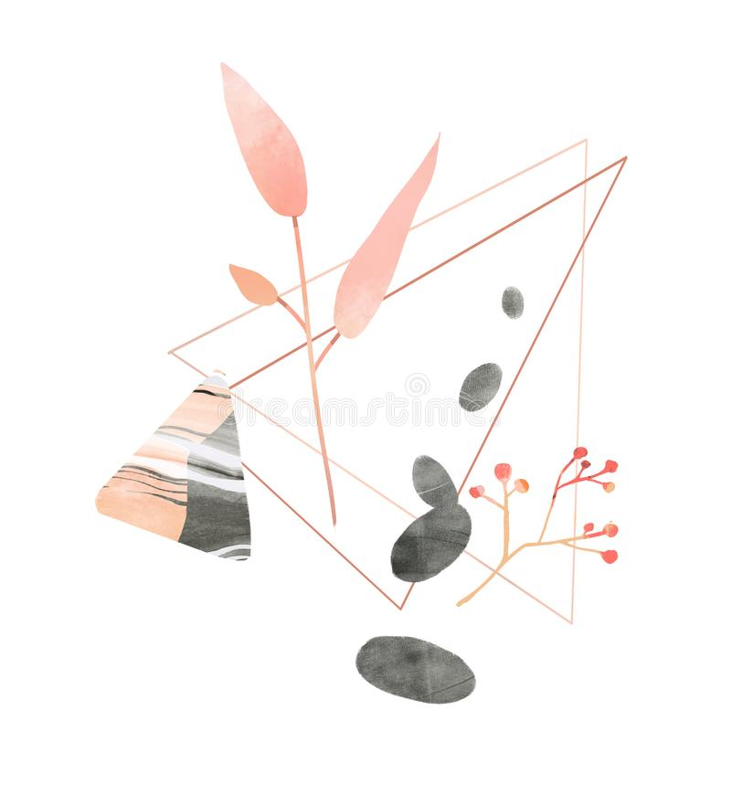 Pink leaf branch, triangle figure and pebble stones. Hand drawn illustration for wellness, spa and beauty salons stock illustration