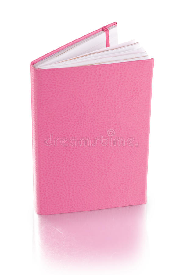 Pink leather diary book - clipping path stock image