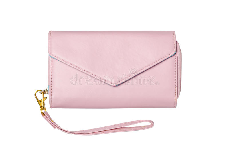 Pink leather lady purse royalty free stock image