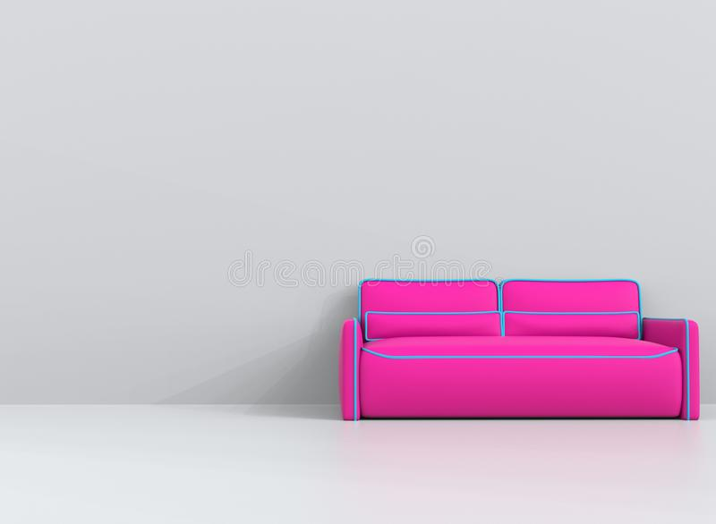 Pink leather sofa with blue outlines in white living room. 3D Illustration vector illustration