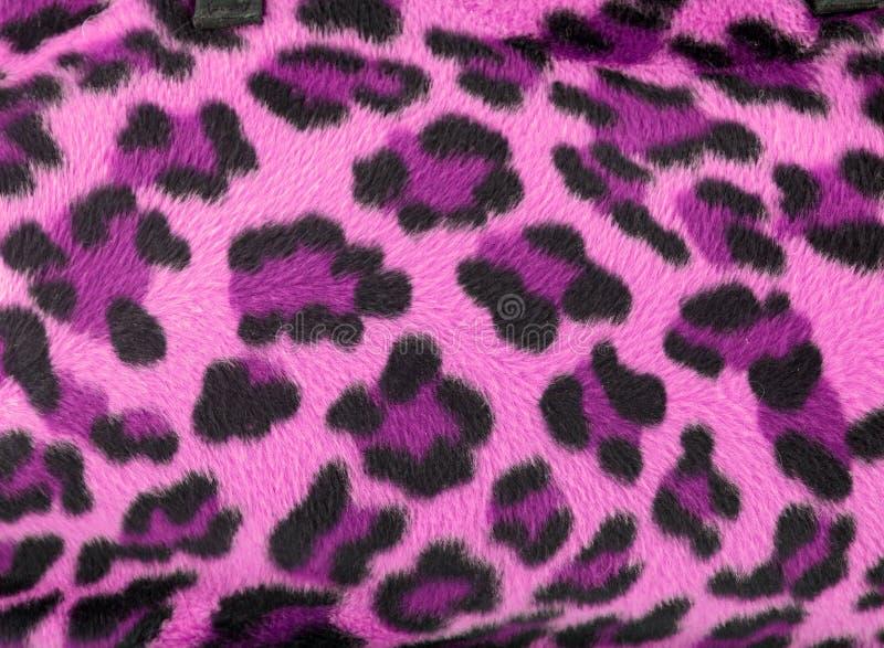 Pink Leopard Faux Fur Background Stock Photos