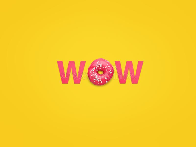 Word Wow made with doughnut royalty free stock image