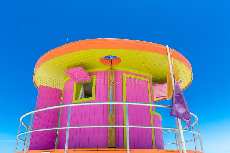 Pink lifeguard house in typical architecture during summer day in Miami Beach, Florida, USA.  stock images