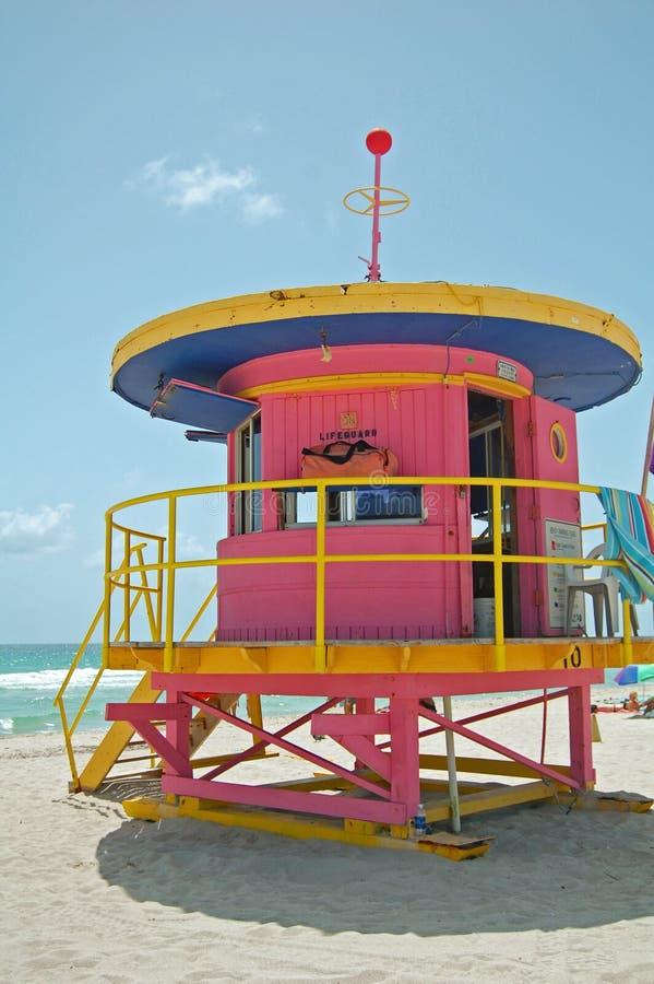 Pink lifeguard tower stock images