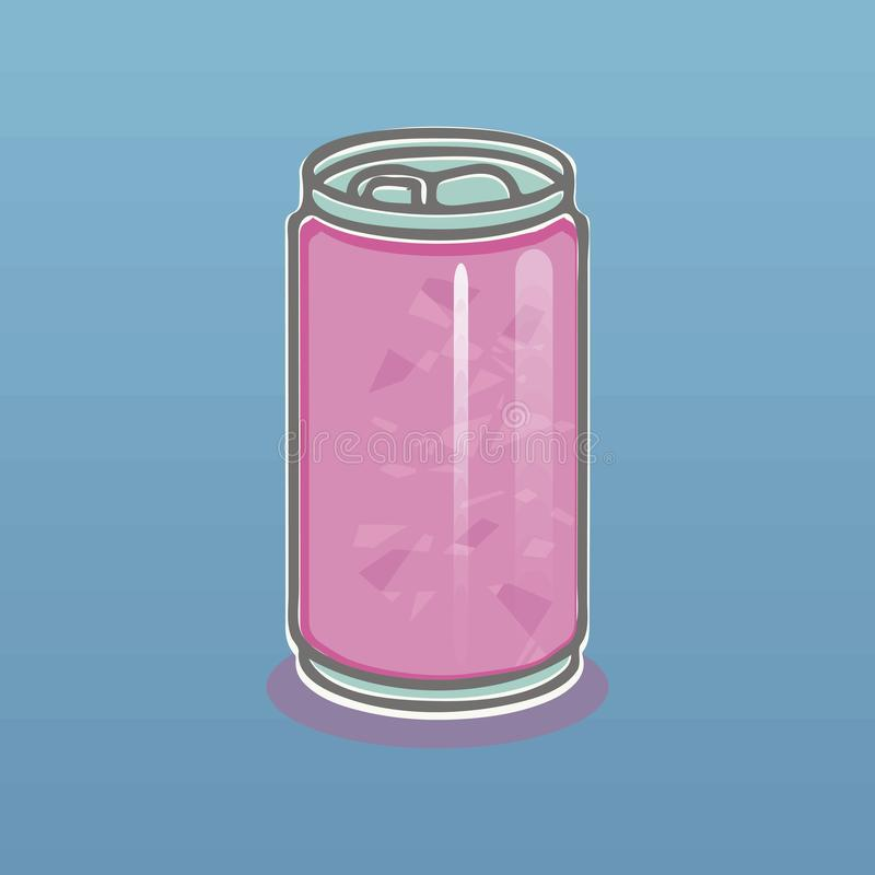 Pink light aluminum can with a drink gray outline and shadow on a blue gradient background vector illustration royalty free illustration