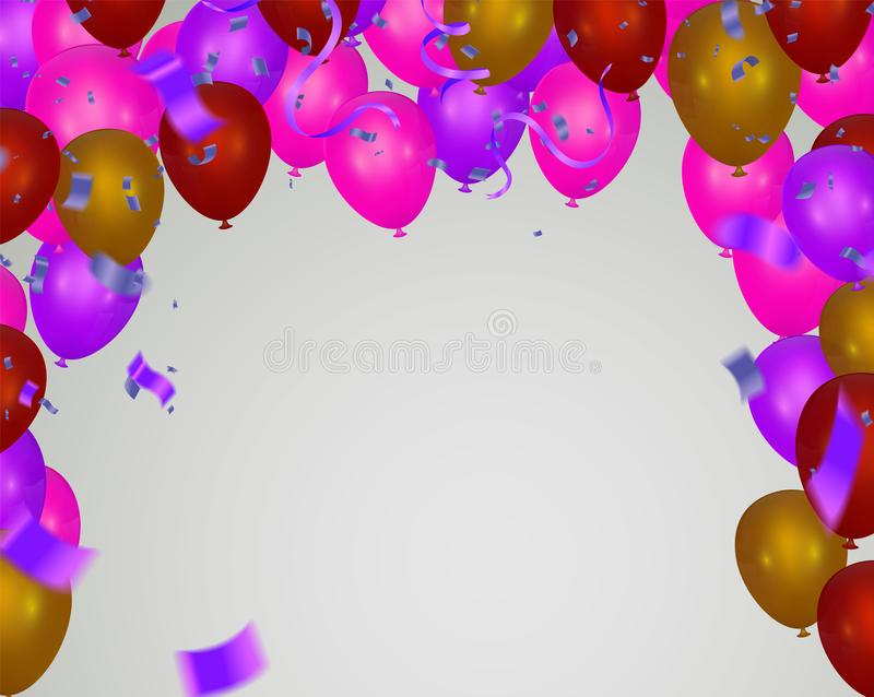 Pink light balloons and colorful  balloons on the  background. Eps 10 vector file stock illustration