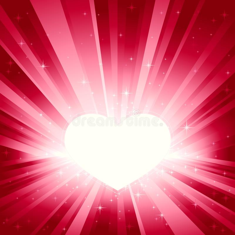 Pink light burst with Valentine's heart stock illustration