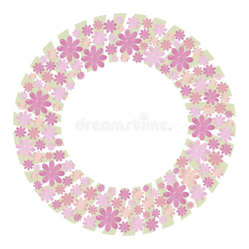 Pink and lilac lush vector wreath made from elements of flowers and hearts with light green pastel color strips of boards on the b royalty free illustration