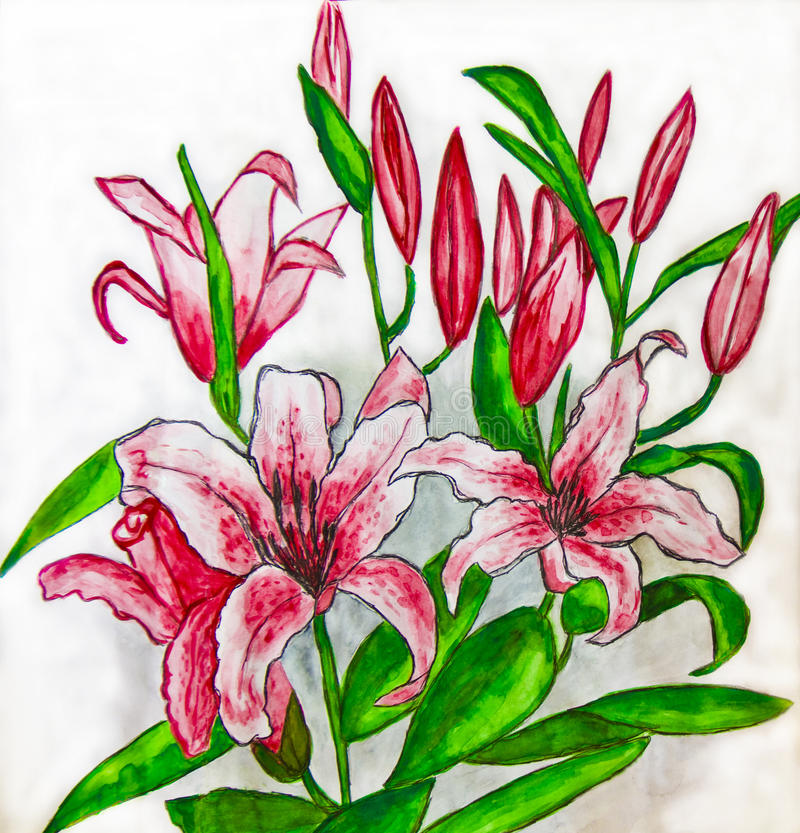 Download Pink Lilies, Painting Stock Photo - Image: 24038650