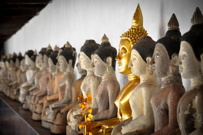 Old buddha statue in temple phayao ,Thailand royalty free stock photography