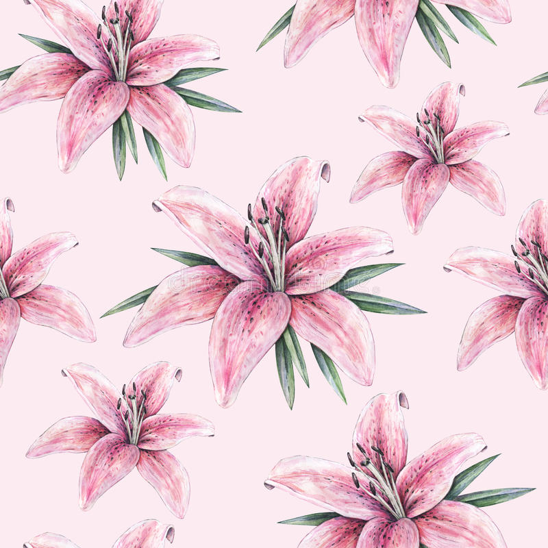 Pink lily flowers on pink background. Seamless pattern with lilies for design stock illustration