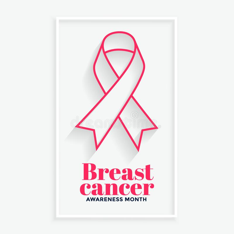 Pink line ribbon breast cancer awareness month background. Vector stock illustration