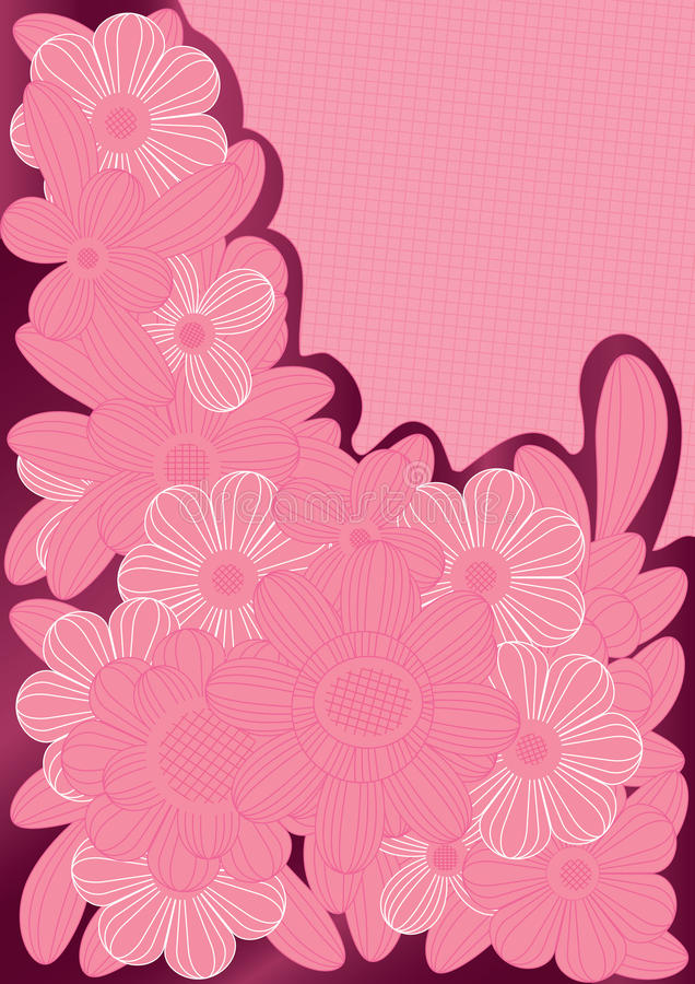 Pink Lines Flowers_eps royalty free illustration