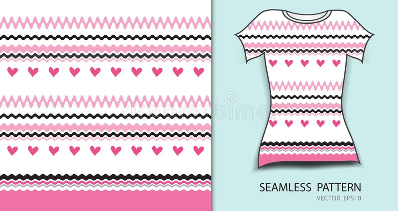 Pink lines and heart seamless pattern vector illustration, t shirt design, fabric texture, patterned clothing stock illustration