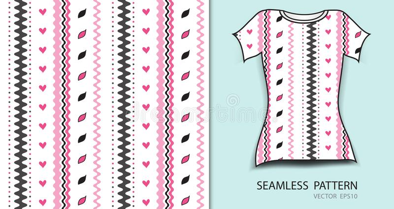 Pink lines and heart seamless pattern vector illustration, t shirt design, fabric texture, patterned clothing. Abstract background royalty free illustration