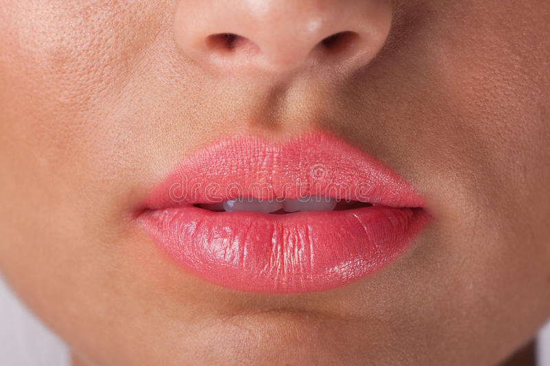 Pink lips. Woman lips with pink make up stock photo