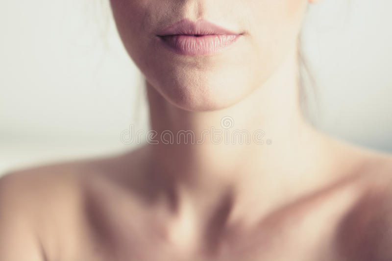 Pink lips and neck stock photo