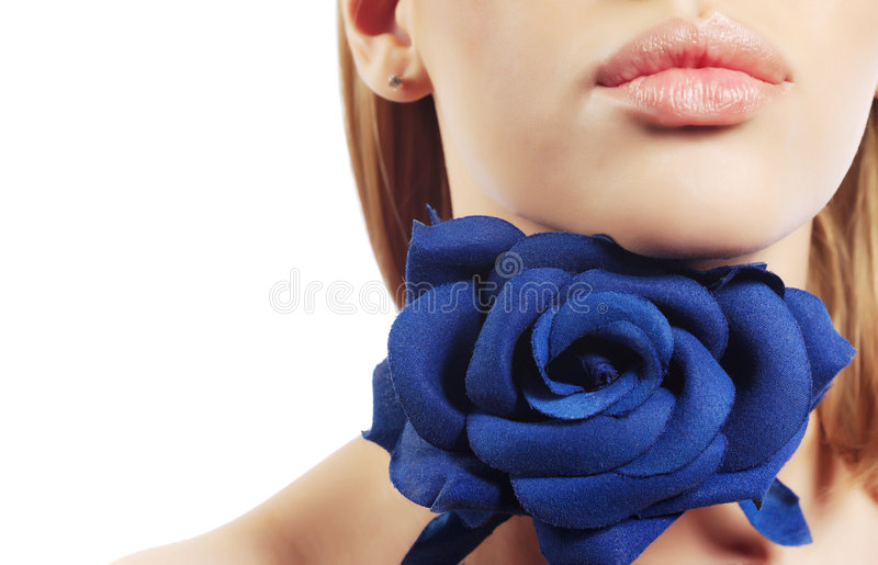 Pink lips and rose stock image