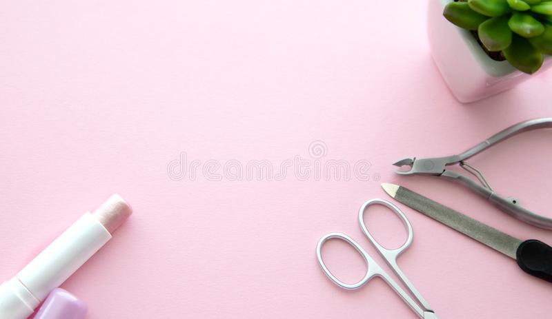Pink lipstick, scissors for manicure, a nail file, cuticle nippers and a green flower in a white pot on a pink background, top stock photography
