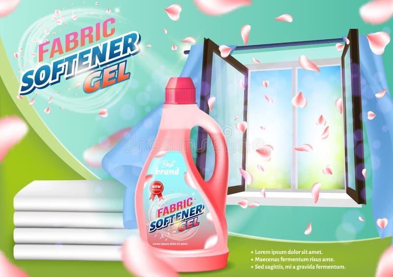 Pink Liquid Bottle on Open Window Background. Fabric Softener Gel. Pink Liquid Bottle on Open Window Background. Detergent for Home. Vector Illustration royalty free illustration