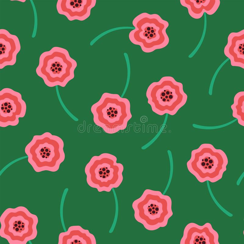 Pink liquid flowers pattern on green background royalty free stock photos