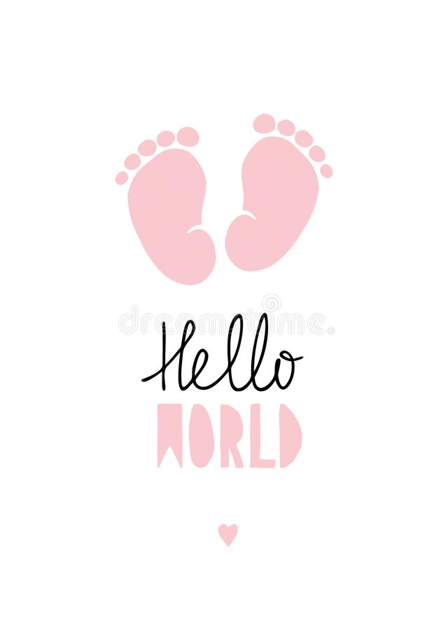 Pink Little Baby Feet Vector Illustration. vector illustration