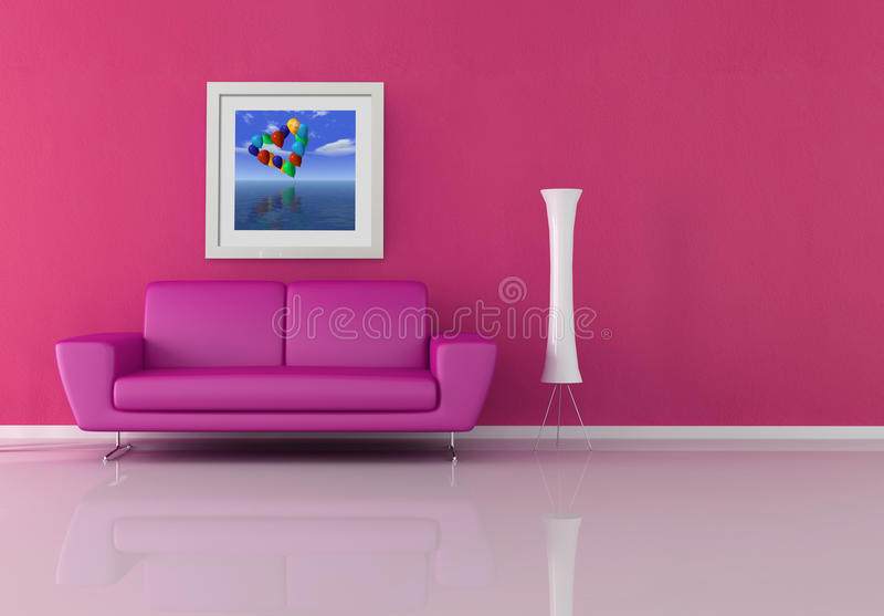 Pink living room stock illustration. Illustration of lamp - 15183076