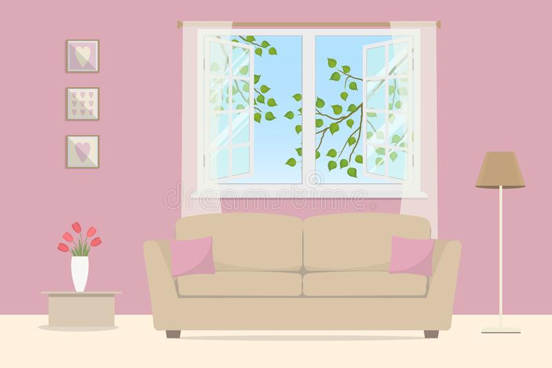 Pink Living Room. Beige Sofa With Pillows On An Open Window ...