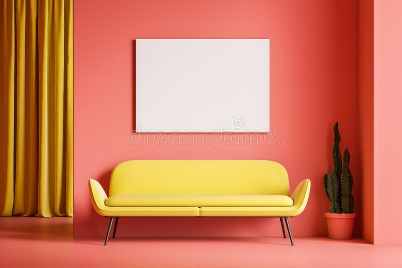 Pink living room interior, sofa and poster. Minimalist living room interior with pink walls and floor, yellow curtain and comfortable yellow sofa with horizontal vector illustration
