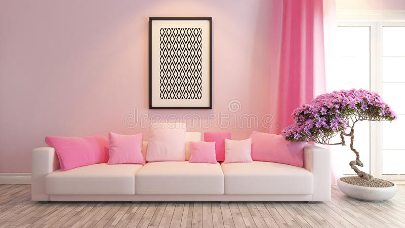 Pink Living Room Or Saloon Interior Design Rendering Stock ...