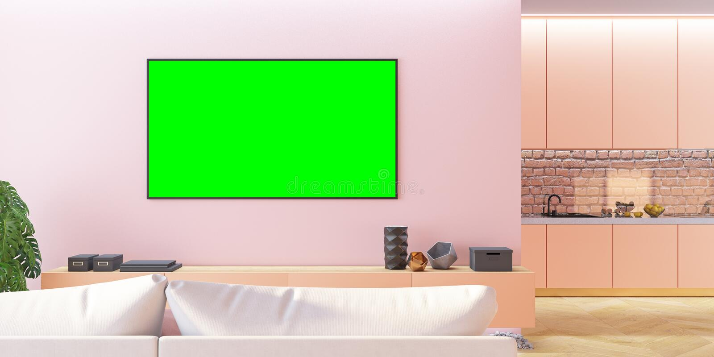 Pink living room TV mock up with sofa, kitchen, console. 3d render illustration stock illustration