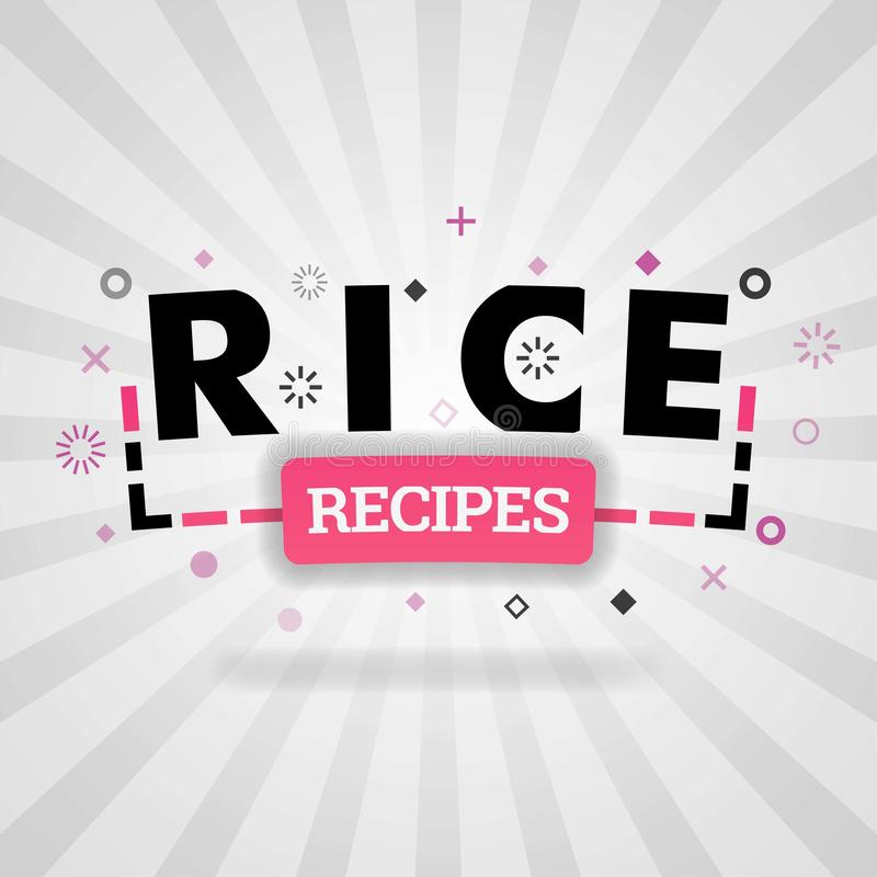 Pink logo for rice recipes. for recipe websites, food blog, today recipes, buy food mobile app, free recipes book, cheap culinary. Books, cookbook recipes web vector illustration