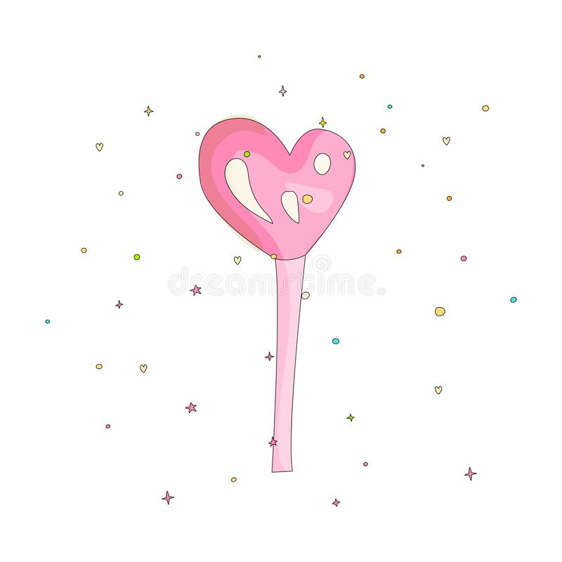 Pink lollipop heart shape fun cartoon vector icon. Sweet heart lollypop cartooning illustration with decoration on white. Background. Cartoon candy on the stick stock illustration