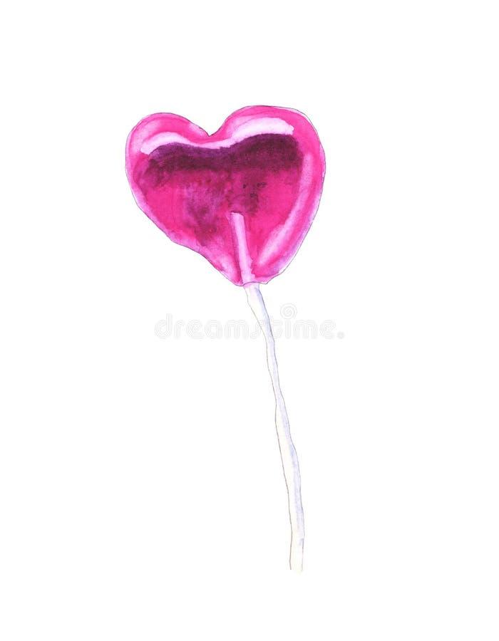 Watercolor pink lollipop stock images