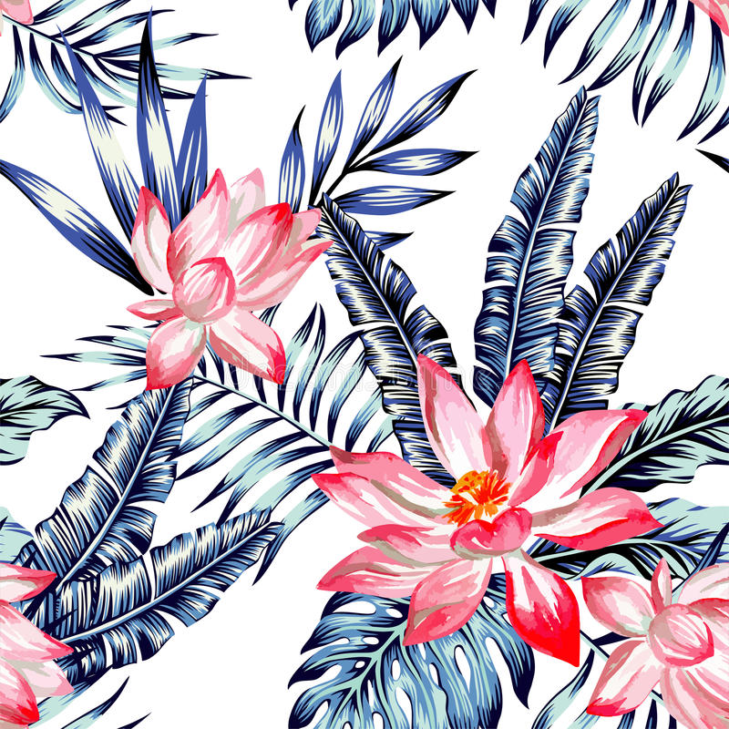 Pink lotus and blue palm leaves seamless background vector illustration