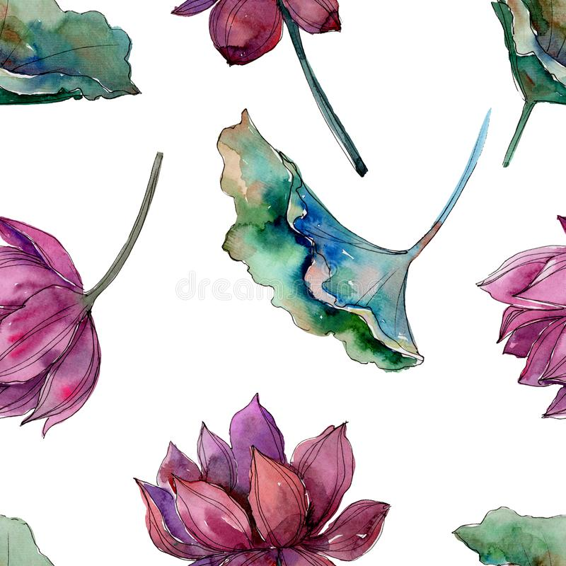 Pink lotus flower. Floral botanical flower.Seamless background pattern. Fabric wallpaper print texture. Aquarelle wildflower for background, texture, wrapper vector illustration