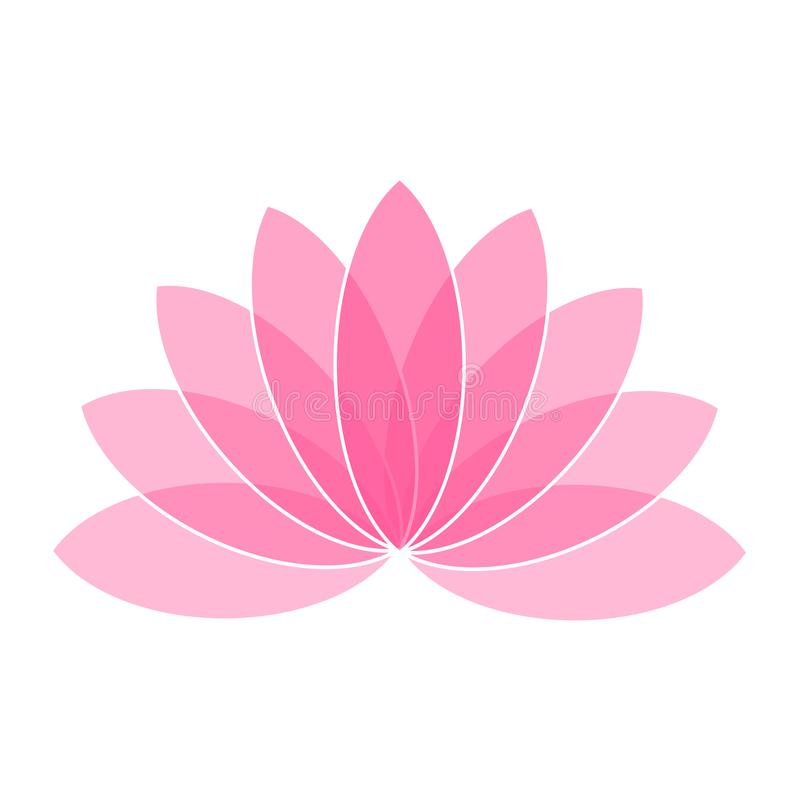 Pink Lotus Flower Icon Logo on White Background Illustration stock illustration