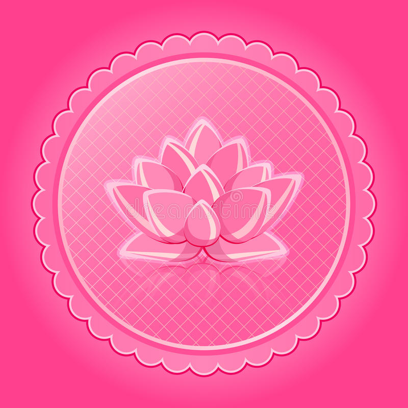 Download Pink Lotus Flower In Round Shiny Label Stock Vector - Image: 24396035