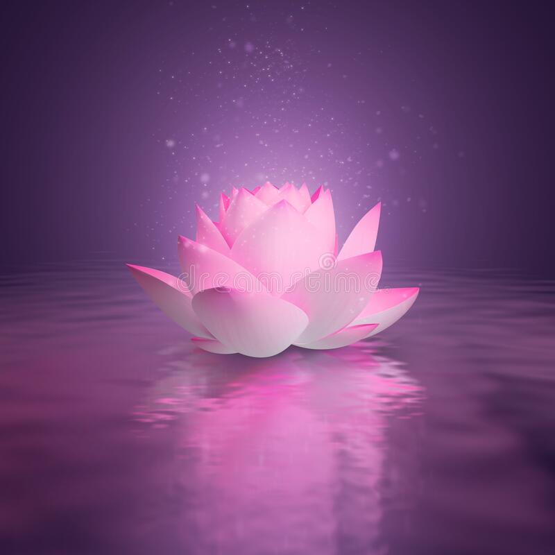 Lotus. Pink lotus on the water surface. Pink shine. 3d generated image. Dark lilac background. Reflection in water royalty free illustration