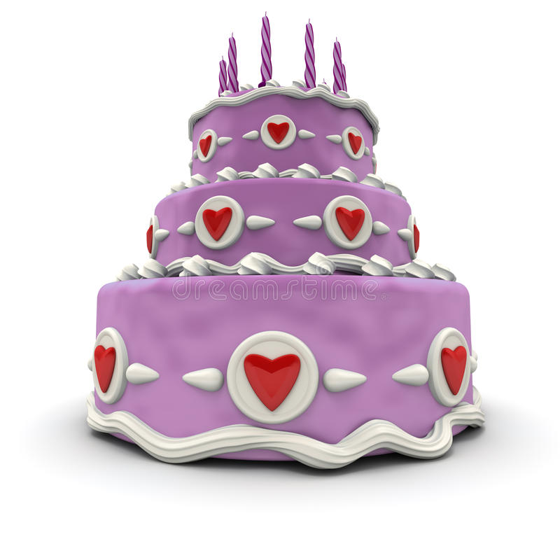 Pink Love cake stock illustration