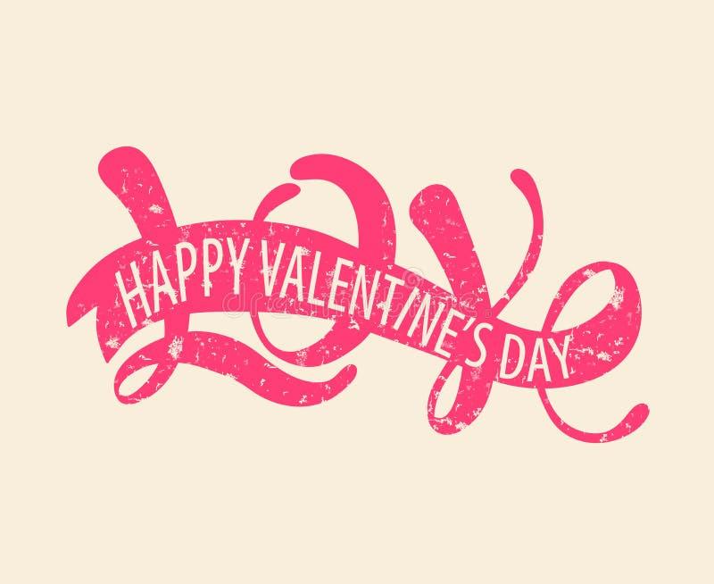 Pink love - Happy Valentine's day royalty free illustration