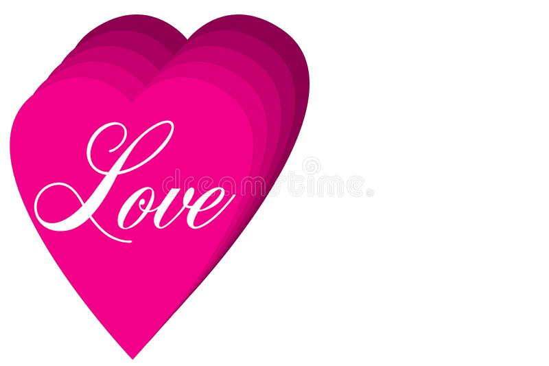 Pink love hearts on a blank white valentines day poster card. A set of pink love hearts on a blank white valentines day poster card vector illustration