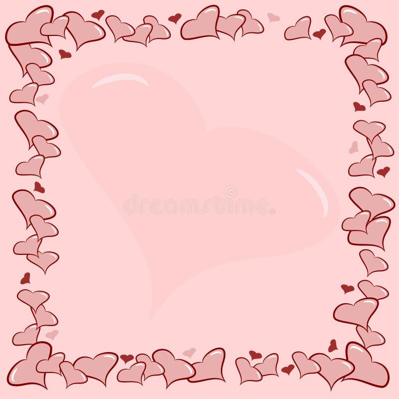 pink love hearts border frame stock vector image 28807722