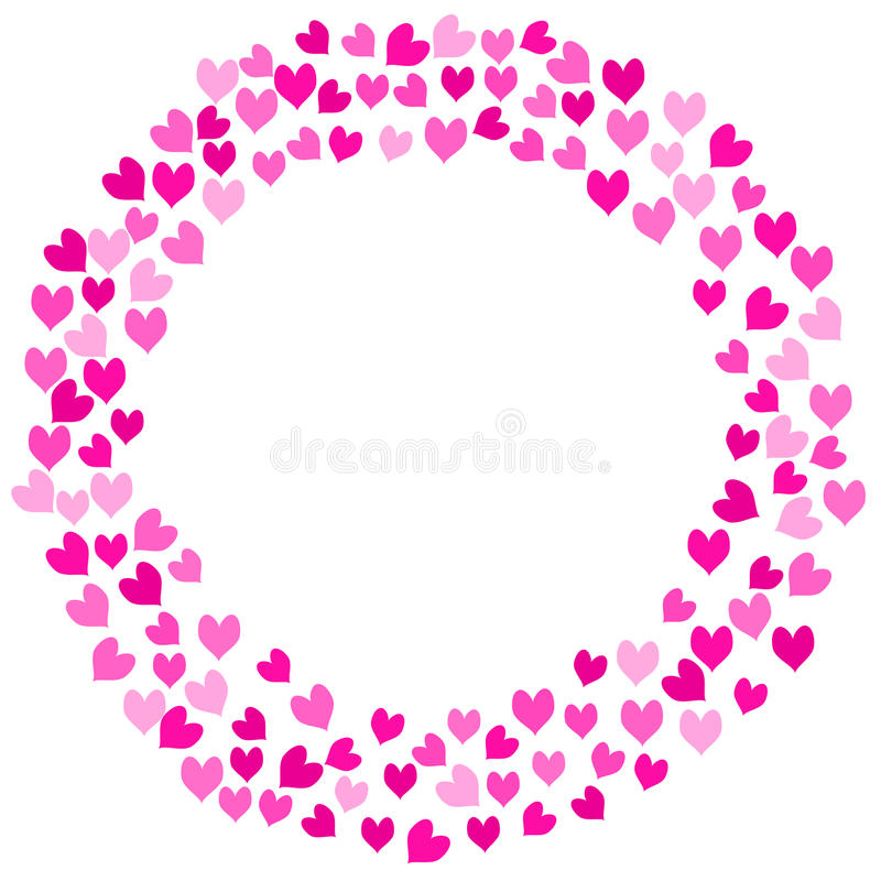 Download Pink Love Hearts Round Frame Stock Photo - Image of crown, friends: 91424550