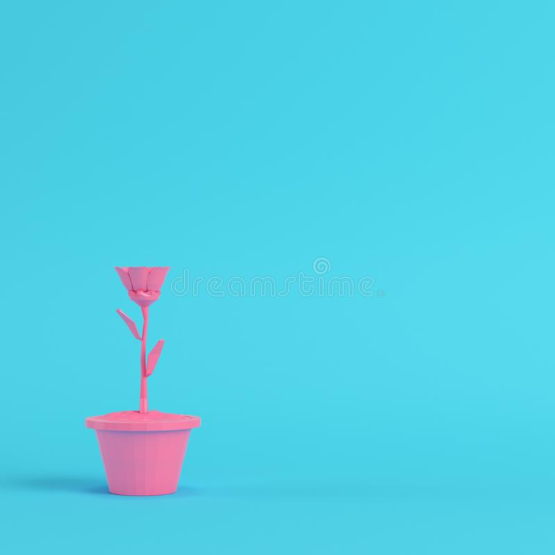 4495c5f9 Pink low poly flower in a pot on bright blue background in paste royalty  free illustration