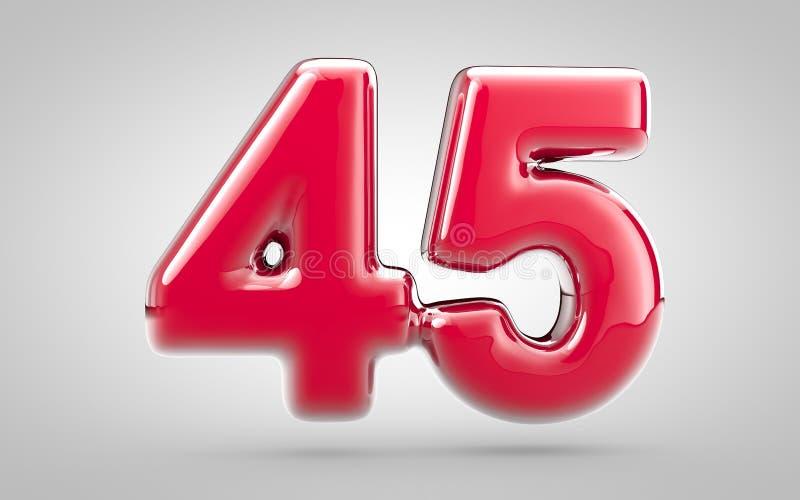 Pink: lucido per unghie rosa 3d numero 45 su fondo bianco illustrazione di stock