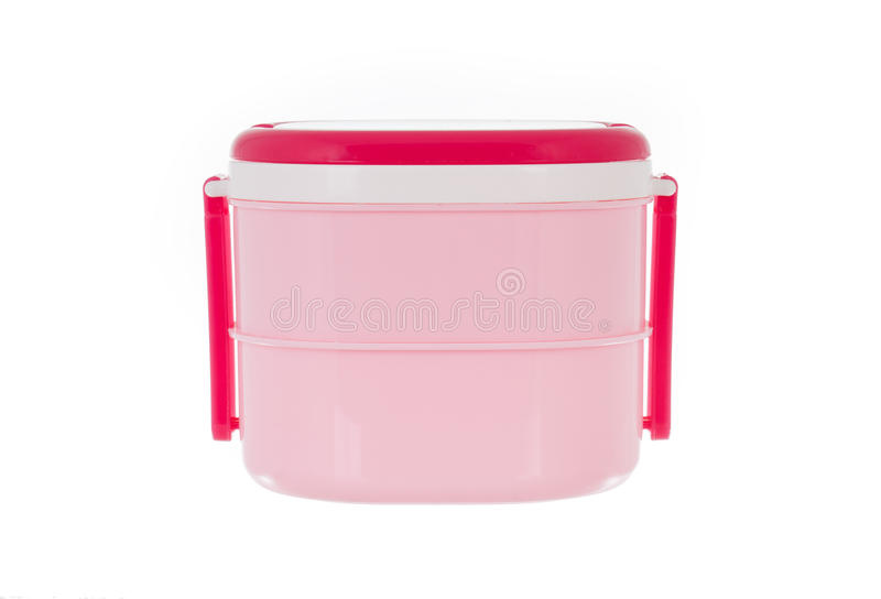 Pink lunch box isolated on white background. In studio stock image