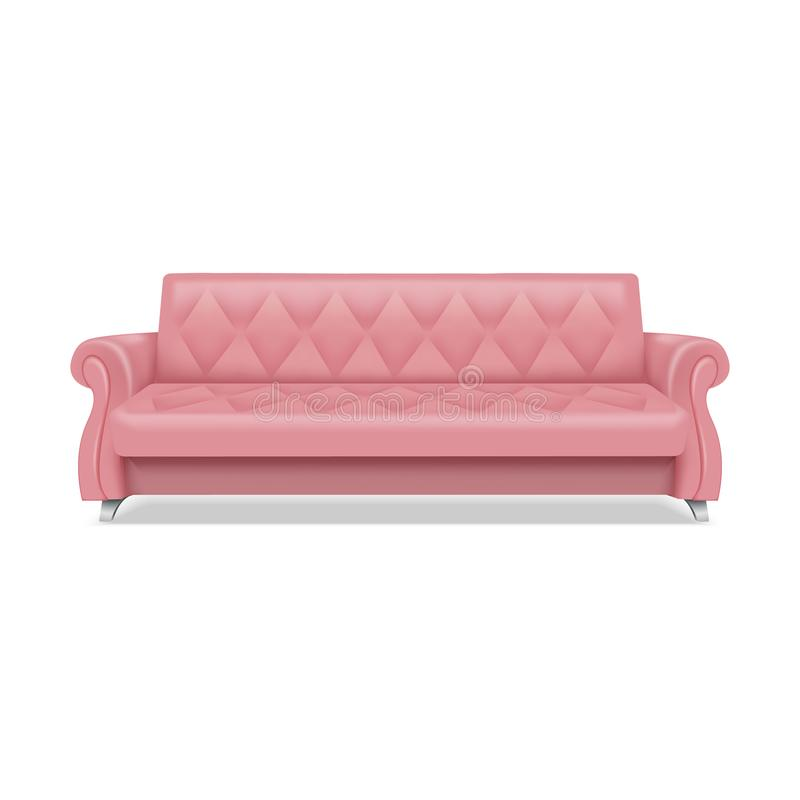 Pink luxury sofa icon, realistic style. Pink luxury sofa icon. Realistic illustration of pink luxury sofa vector icon for web design isolated on white background royalty free illustration