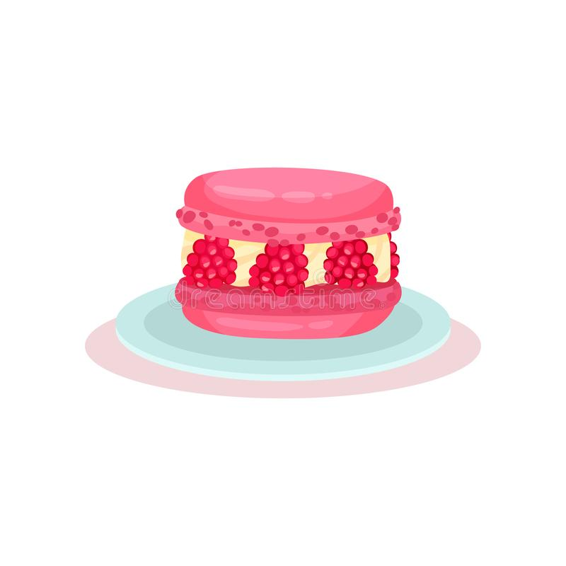 Pink macaron with fresh raspberry. Delicious dessert. Sweet food. Culinary theme. Flat vector for cafe menu or recipe royalty free illustration